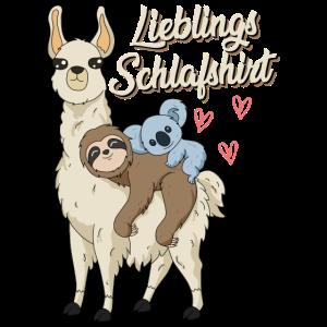 Lieblings Schlafshirt Spruch mit Alpacca Faultier