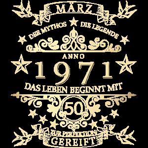 50. Geburtstag Geschenk März 1971 Mythos