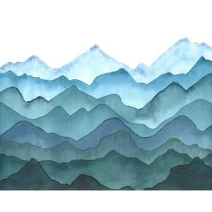 Landschaft mit Hügeln oder Bergen - Aquarell