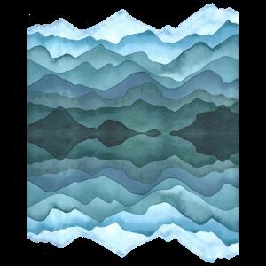 Aquarell: abstrakte Landschaft mit Hügeln/ Bergen