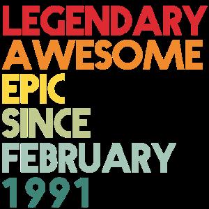 30. Geburtstag 30 Jahre Februar 1991 Geschenk