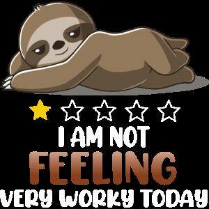 Faultier fühlt sich nicht arbeitsreich.