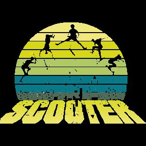 Retro Stunt Scooter Stunts über der Stadt