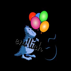 5. Geburtstag | Dino mit bunten Luftballons