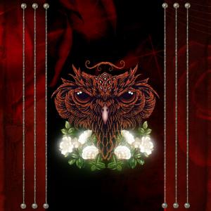 Dekorativer Eulenkopf mit Blumen