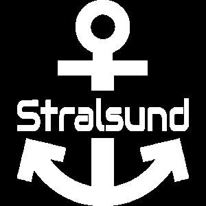 Anker mit Stralsund Schriftzug weiß