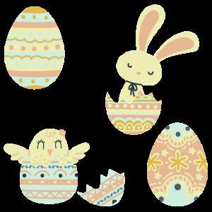 Ostereier Hase und Küken Pastellfarben