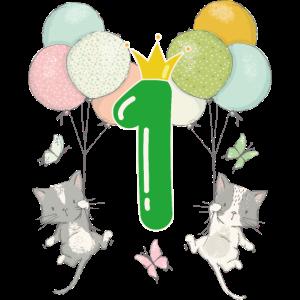 Geburtstag 1 Jahr Zahl Katze Krone Luftballons
