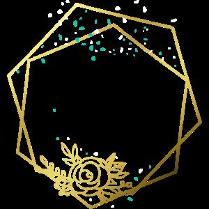 Rahmen Gold Rose Abstrakt Hexagon Sechseck