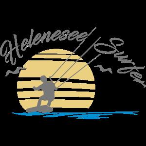 helenesee kitesurfer auf hell