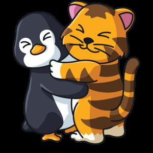 Pinguin und Tiger niedliche Tiere knuddeln