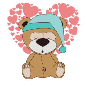 Süsser kleiner Teddybär mit Herzen