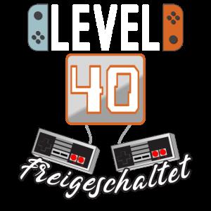 Level 40. freigeschaltet Gamer Geschenkidee
