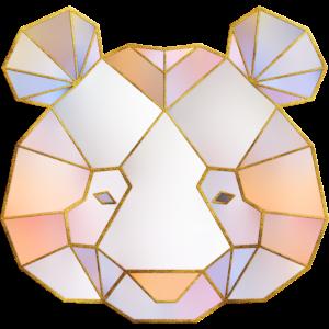 Bär Kopf Geometrische Goldlinien 2