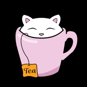 Kleine süße Kätzchen sitzen in einer rosa Tasse Tee