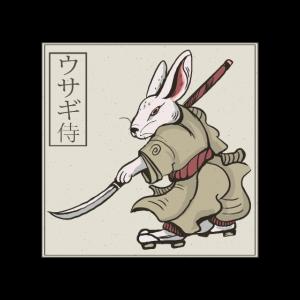 Japanische Kunst Kaninchen Samurai mit Schwert