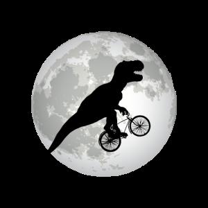 Lustiges Trex fährt Fahrrad vor einem Vollmond