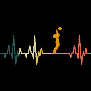 Volleyball Herzschlag Volleyballerin EKG Retro