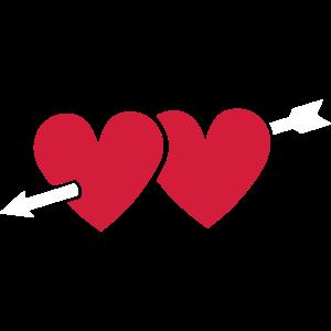 Herz Pfeil 2 Herzen Liebe Pfeilspitze Paare I Love