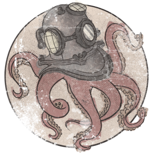 Oktopus in Taucherhelm