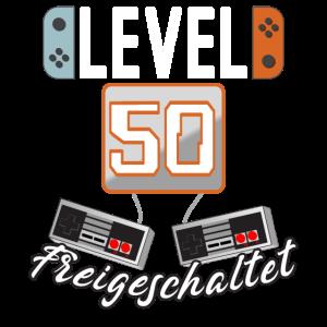 Level 50. freigeschaltet Gamer Geschenkidee