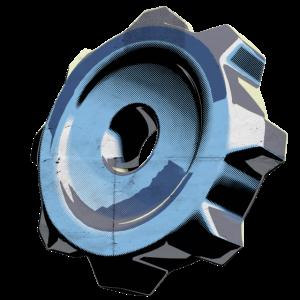 Zahnrad, bleu