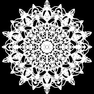 Weiß gepunktetes Mandala