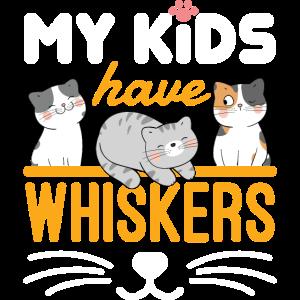 Meine Kinder haben Schnurrhaare Nette Katze Mama Papa Eltern
