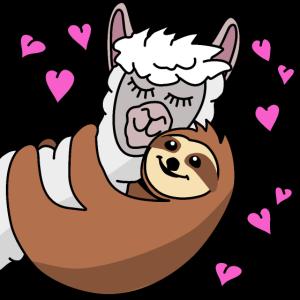 Alpaka und Faultier - das ist Liebe - Valentinstag