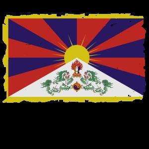Flag of Tibet - Tibet Flagge - Shabby look