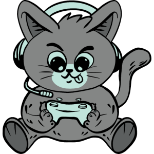 Gamer Katze Kätzchen Kater mit Headset