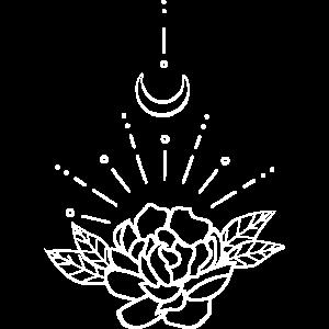 Rose Mystisch mit Mond in Weiß
