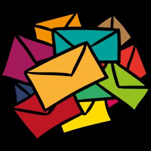 Bunte Briefe Sekretärin Postbote Geschenkidee