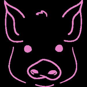 Schwein Zeichnung Pig Portrait Lineart