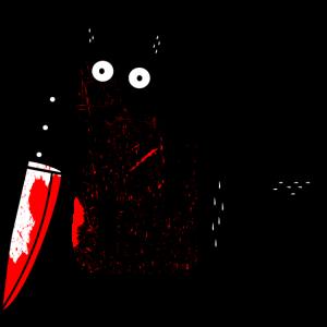 Katze What? lustige schwarze katze mit Messer