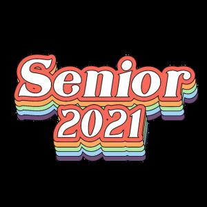 Senior 2021 retro Regenbogen farbige Schriften