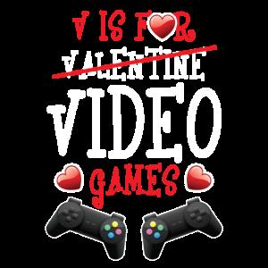 V Is For Video Games Funny Valentine Gamer Gift