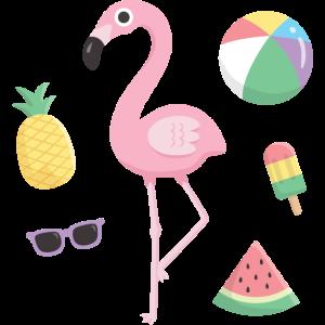 Süße rosa Flamingo und Strand Sommer Artikel