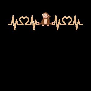 Herzschlag EKG Puls Affe I Affen Geschenk Motiv