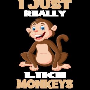I Just Really Like Monkeys I Affen Geschenk Motiv