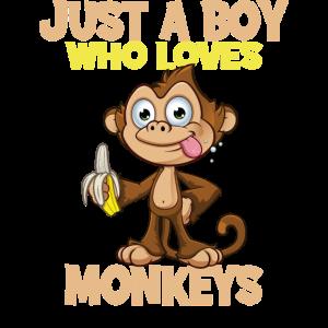 Just A Boy Who Loves Monkeys Affen Geschenk Motiv