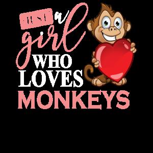 Just A Girl Who Loves Monkeys Affen Geschenk Motiv
