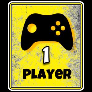 PLAYER 1 - Gamepad mit Text und grunge Look GELB