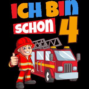 4. Geburtstag Feuerwehr Auto Junge Geschenk