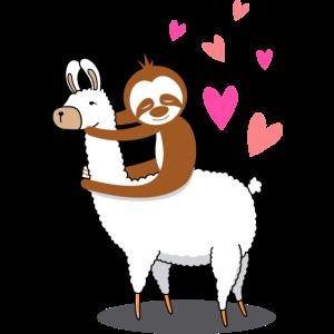 Lama Alpaka Faultier Liebe Valentinstag