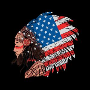 Indianer mit amerikanischer Flagge Indianer