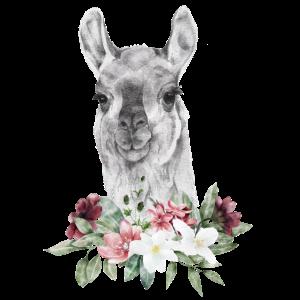 Watercolor Lama Alpaka mit Blumen