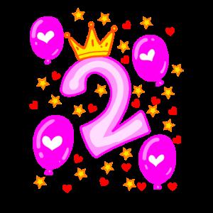 2 Geburtstag Mädchen Luftballons Krone Sterne
