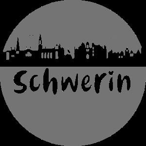 Schwerin,skyline,schwarz,scherenschnitt,Kreis,logo
