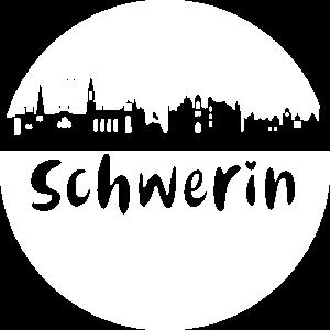 Schwerin,skyline, weiss,scherenschnitt,Kreis,logo